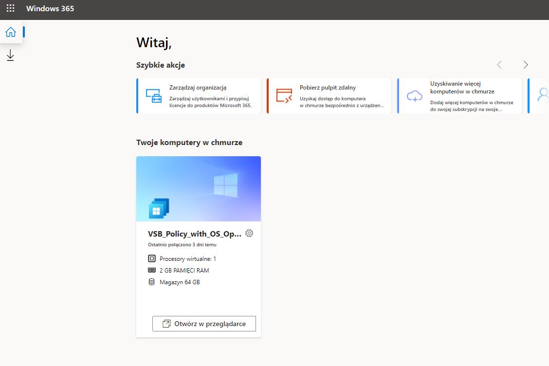 widok panelu logowania Windows 365