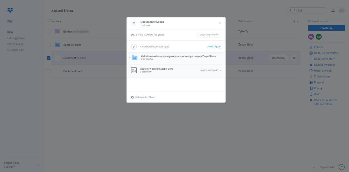 Dropbox Business - udostępnianie