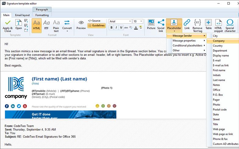 Edycja podpisu w html z CodeTwo