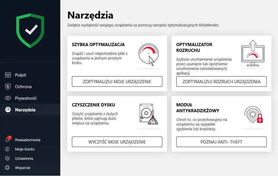 Narzędzia w aplikacji Bitdefender