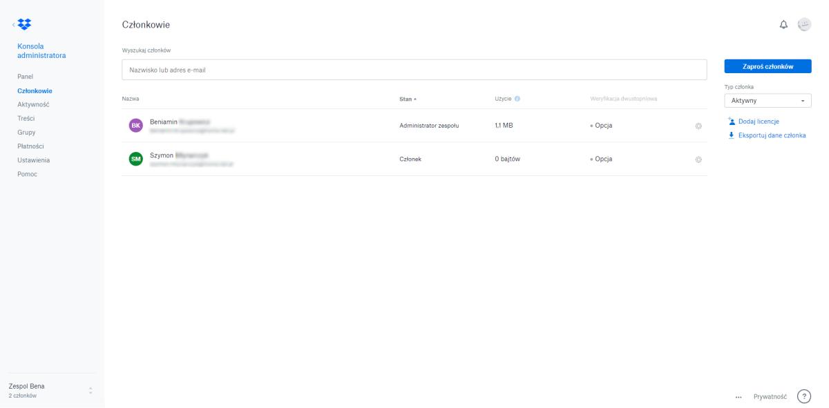 Dropbox Business - konsola administracyjna
