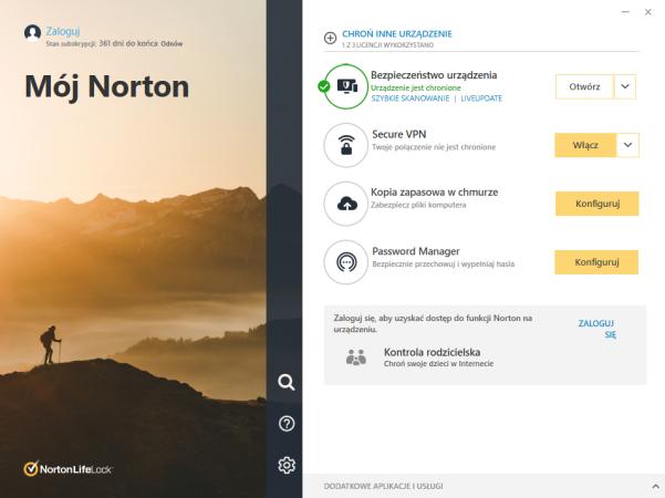 Antywirus Norton 360 z funkcją kopii zapasowej i kontroli rodzicielskiej.