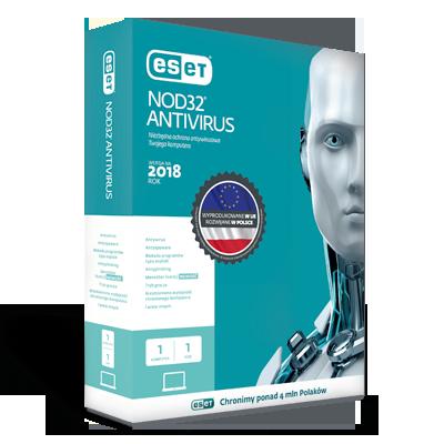 ESET NOD32 Antivirus program antywirusowy dla Windows 1 Urządzenia/Licencja na 1 rok